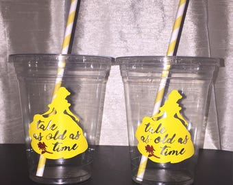 Belle Party Cups, Birthday Cups, Party Favors, Disney Princess, girl