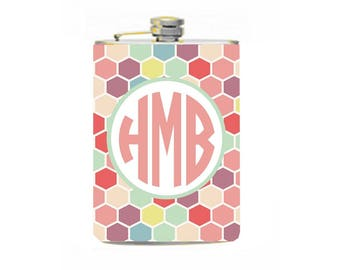Monogram flask//21st birthday gift//custom flask