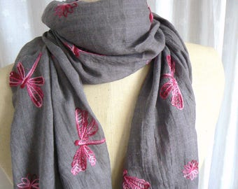 Grey and Pink Embroidered Dragonfly Scarf Wrap Shawl Headscarf