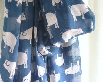Navy Blue and Pink Pig Scarf Wrap Shawl Ladies Women's Farm Animal