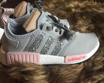 Pink/Gray Glitter Stripped Customized NMD R1