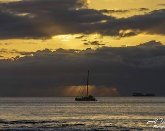 Sunset off of Oahu, Hawaii