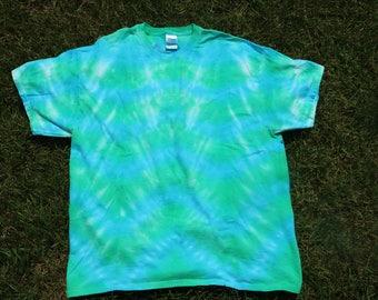 Blue and Green Tie Dye T-shirt, Blue and Green Stripe, Handmade, Adult T-shirt, Adult Tee, Custom Tie Dye, Green Tie Dye, Blue Tie Dye