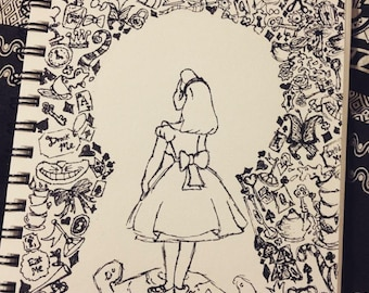 A5 Alice in Wonderland Sketch Drawing