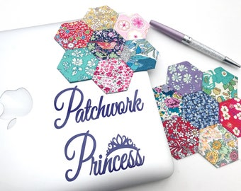 Patchwork Princess Vinyl Decal Sticker Quilter Quilting Accessories Accessory Adhesive Removable Sewing Craft Patchwork Sewing Room Decal