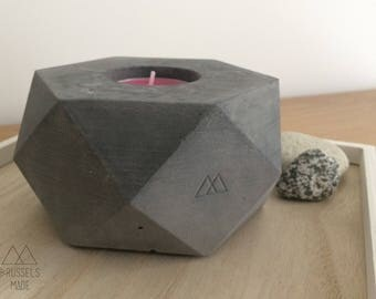 Large anthracite hexagonal concrete tealight / set of 1
