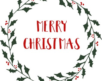 Merry Christmas Wreath Stencil, Reausable Stencil, Christmas Stencil, Holiday Stencil, 7mil mylar stencil, sign stencil, Pillow stencil