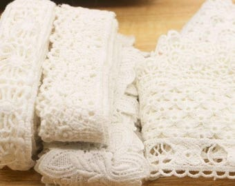 5 yards White Cotton Lace  3-7 cm Mixed Style  fabric lace accessories