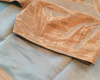Pale blue cotton silk raw mango saree.