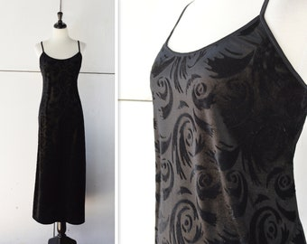 90s black velvet dress | vintage spaghetti strap dress | 1990s black velvet dress