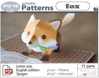 pop-up card__Patterns__fox  (digital download file)