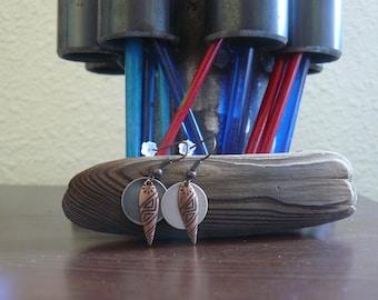 Pattern Copper Drop with Silver Disk, Dangle Earrings