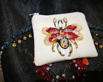 Insect embroidery coin purses
