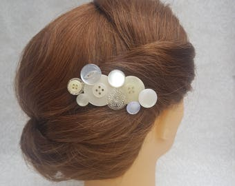 Striking upcyled, unique, statement button hair accessory. Retro pinup. Bridal.