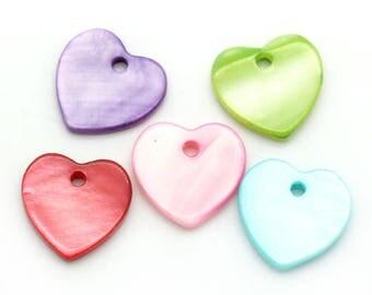 Lovely little heart charm 12mm Green Pearl