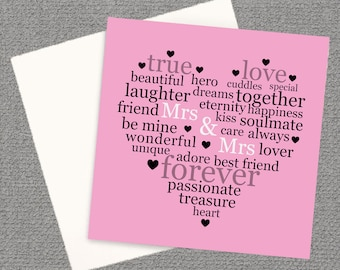 Valentine's Greeting Card, Mrs & Mrs Card