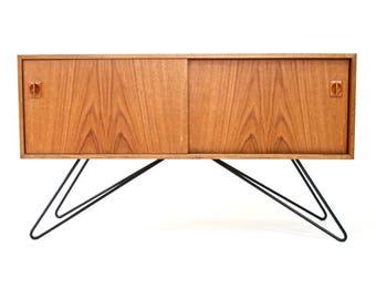 Mid century Danish Modern Slide Door/Record Storage Teak Cabinet