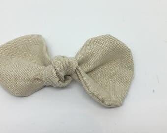 Neutral, tan, linen, cotton baby headband bow