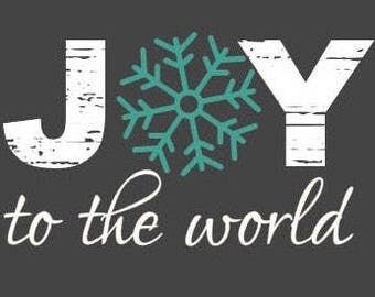 Joy to the world snowflake distressed Christmas SVG/PNG/DXF