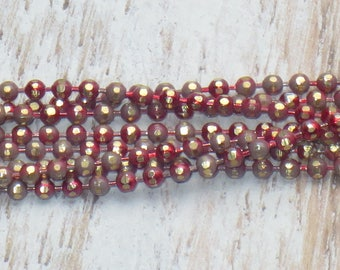 1mm Gold and Red Electroplated Diamond Cut Ball Chain 2 ft.
