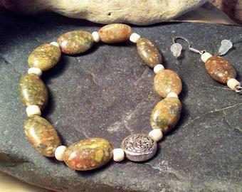 Green jasper bracelet and earrings set
