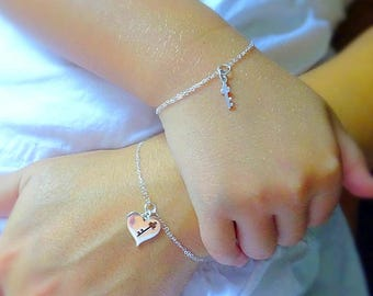 Mother & Daughter Key to My Heart bracelet SET, back to school, kindergarten gift, preschool, sterling silver bracelet, mother and child