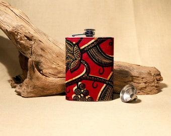African Waxcloth RED Flask w/ funnel