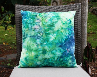 Ice Dyed Ocean Inspired Throw Pillow Cover- 18x18