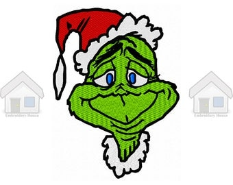 "Green Goblin Christmas Fully Embroidery Design 2 sizes ""Instant download"""