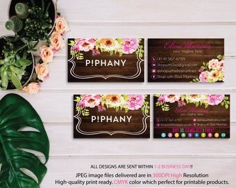 Piphany Business Card, Piphany Punch Card, Custom Piphany Business Card, Watercolor Flower Card, Wood Business Card, Printable Card TP07