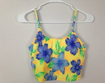 Yellow and blue floral swimsuit top size M/L