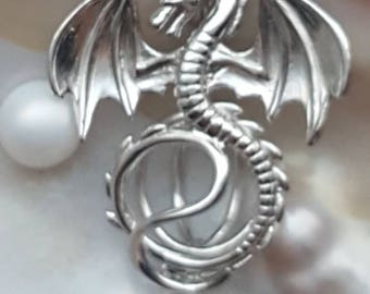 Dragon Pearl Cage Pendant Sterling Silver