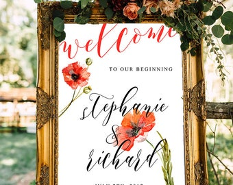 Wedding Welcome Sign Poppies