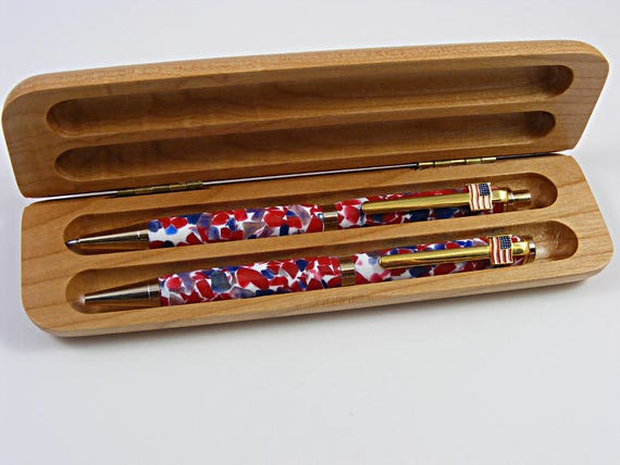 Ink Pen and Pencil Set in 24k Gold and Patriotic Pebble