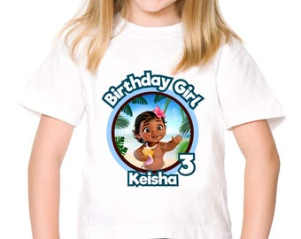 Personalized Baby Moana Birthday Girl Tee Tshirt Birthday Party Shirt Image Printable Iron On Transfer DIY - Digital File