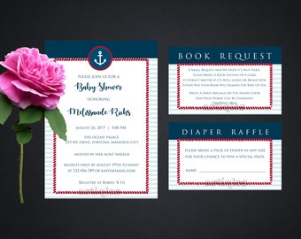 Personalized Nautical Baby Shower Set Anchor Invitations Diaper Raffle Book Request Printable DIY - Digital File