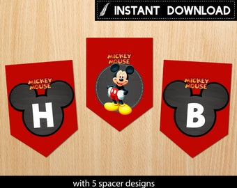 Instant Download - Mickey Mouse Banner First Birthday 1st Party Red Chalkboard Printable DIY - Digital File