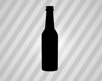 Beer Bottle Silhouette - Svg Dxf Eps Silhouette Rld Rdworks Pdf Png Ai Files Digital Cut Vector File Svg File Cricut Laser Cut
