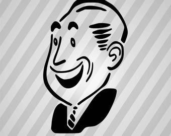 Laughing Man Silhouette - Svg Dxf Eps Silhouette Rld RDWorks Pdf Png AI Files Digital Cut Vector File Svg File Cricut Laser Cut