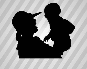 Mother And Baby Silhouette - Dxf, Svg, Eps, Rld, RDWorks, Pdf, Png and AI Print Files, Digital Cut, Vector File, Svg File