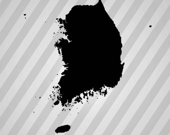 South Korea Map Silhouette -  Svg Dxf Eps Rld Rdworks Pdf Png Ai Files Digital Cut Vector File Svg File Cricut Laser Cut