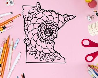 Minnesota Map Mandala Svg, Animal Mandala Svg, Mandala Monogram, Mandala Minnesota Map Svg, Mandala Svg, Mandala, Mandala