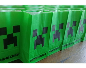Minecraft Creeper 95x5 Paper Treat Bags Birthday Party Favors Supplies Candy