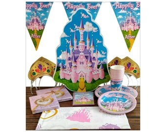 Set for 8 Royal Princess Happily Ever After Castle Birthday Party Supplies ~ Cups Plates Banner Napkins Tablecover Decorations ~ Pink Purple
