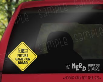 Classic Video Game Future Gamer on Board Decal, Two Layer Vinyl Car Decal, Fun Nerdy Decal, Geeky Car Gift, Baby On Board Decal, Baby Gift