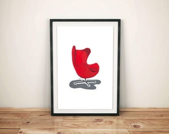 Mid-century Furniture Instant Download, Printable Wall Art, Digital Download,  Contemporary Interior Design, Egg Chair