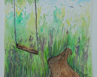 Original Watercolor Swing and Path 5x5 Painting