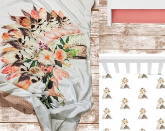 Peach Headdress Nursery Bedding Set// 3 or 4 Piece Crib Bedding Set