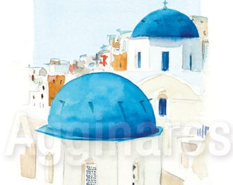 Santorini Greece / art print from an original watercolor painting