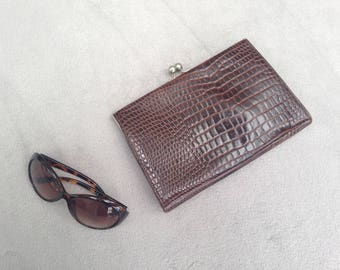 Vintage 1970s faux snakeskin clutch bag